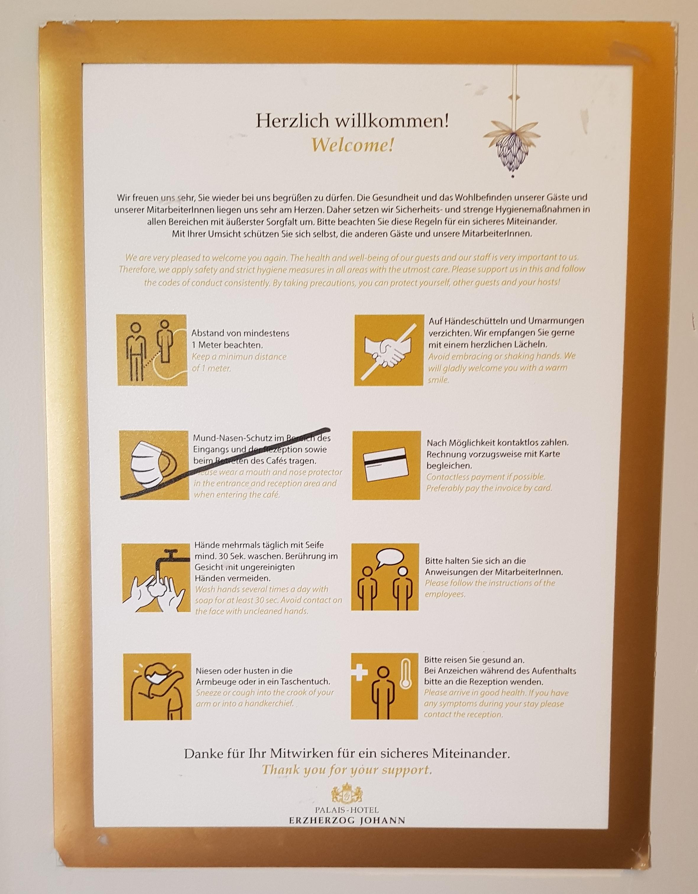 Coronaregels in een hotel in Oostenrijk zomer 2020